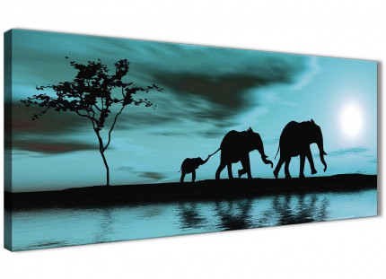 Teal African Sunset Elephants Canvas Wall Art Print - Modern 120cm Wide - 1362