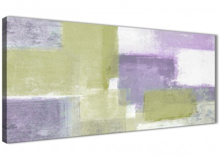 Lime Green Purple Abstract Painting Canvas Wall Art Print - Modern 120cm Wide - 1364