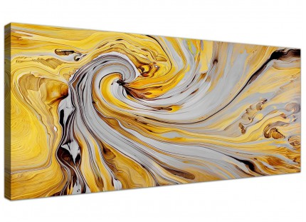 Mustard Yellow and Grey Spiral Swirl - Abstract Canvas Modern - 120cm Wide - 1290