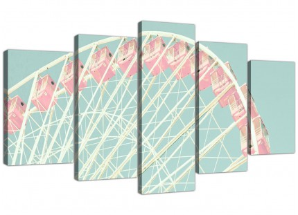 Extra Large Shabby Chic Duck Egg Blue Pink Ferris Wheel Canvas Split Set of 5 - 5282