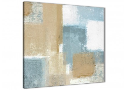Blue Beige Brown Abstract Painting Canvas Wall Art Print - Modern 49cm Square - 1s350s