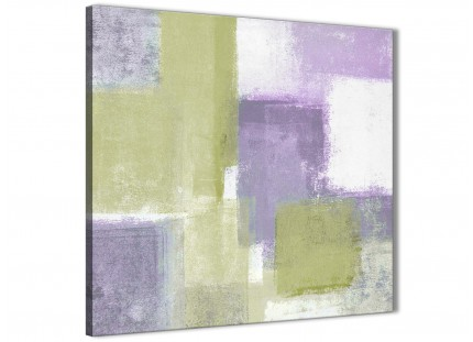 Lime Green Purple Abstract Painting Canvas Wall Art Print - Modern 49cm Square - 1s364s