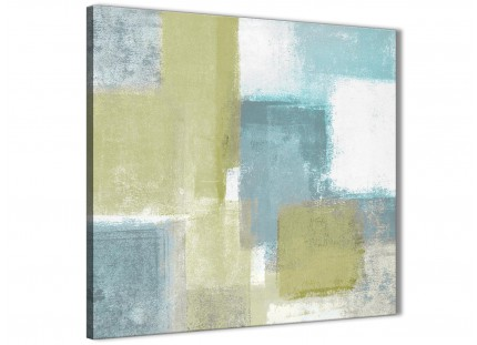Lime Green Teal Abstract Painting Canvas Wall Art Print - Modern 49cm Square - 1s365s