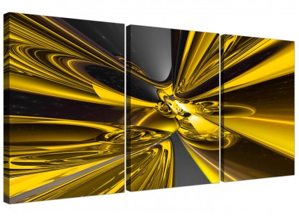 Modern Yellow Black Contemporary Abstract Canvas - Set of 3 - 125cm - 3256