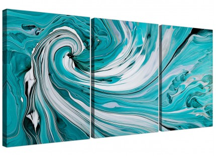 Modern Teal White Grey Swirls Abstract Canvas - Set of 3 - 125cm - 3266