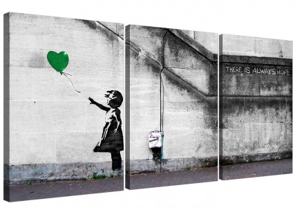 Modern Banksy Balloon Girl Green Heart Hope Canvas - Set of 3 - 125cm - 3222