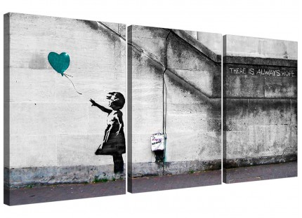 Modern Banksy Balloon Girl Teal Heart Hope Canvas - 3 Set - 125cm - 3220