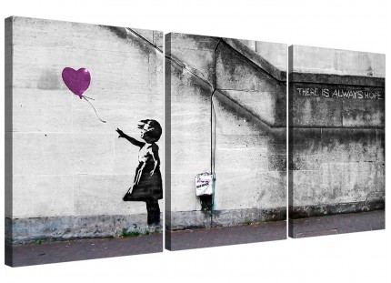 Modern Banksy Balloon Girl Plum Heart Hope Canvas - Set of 3 - 125cm - 3224
