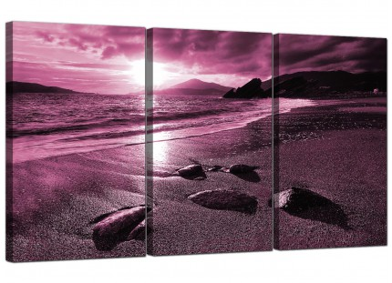 Modern Plum Coloured Sunset Beach Scene Landscape Canvas - 3 Set - 125cm - 3078