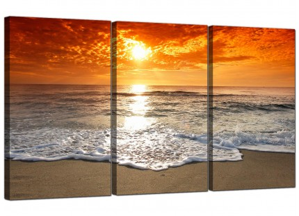 Ocean Sunset Beach Scene View Orange Landscape Canvas - Set of 3 - 125cm - 3152