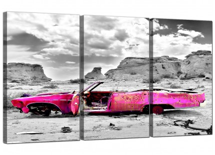 Pink Grey Black Abstract Desert Car Landscape Canvas - Set of 3 - 125cm - 3145