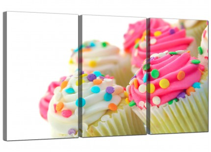 Modern Pink White Cupcakes Kitchen Canvas - 3 Part - 125cm - 3084