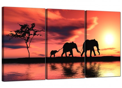 Modern African Sunset Elephants Landscape Canvas - Set of 3 - 125cm - 3102
