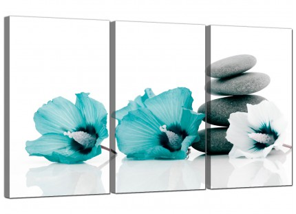 Modern Teal Grey White Flowers Zen Stones Floral Canvas - 3 Part - 125cm - 3072