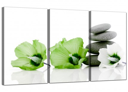 Modern Lime Green White Grey Flowers Zen Floral Canvas - Set of 3 - 125cm - 3070