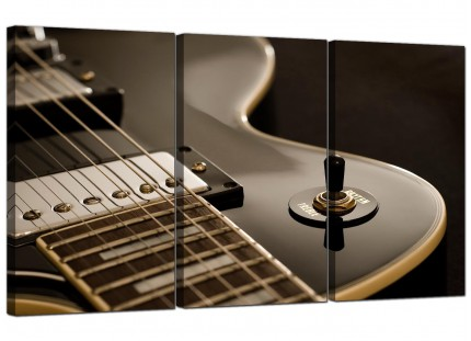 Modern Black White Electric Guitar Gibson Music Canvas - Set of 3 - 125cm - 3125