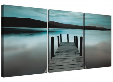 Modern Teal Grey Coloured Lake Jetty View Landscape Canvas - 3 Set 125cm - 3237