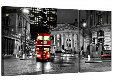 Modern Red London Bus Street Black White Cityscape Canvas - 3 Set - 125cm - 3208