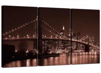 Modern Brown Brooklyn Bridge New York Skyline City Canvas - 3 Set - 125cm - 3122