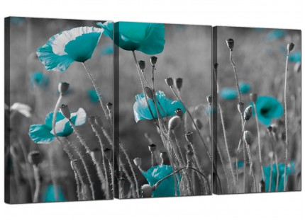 Modern Teal Poppy Grey Black Poppies Flower Floral Canvas - 3 Set - 125cm - 3139