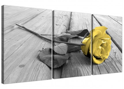 Modern Yellow Grey Rose Flower Black White Floral Canvas - 3 Part - 125cm - 3255