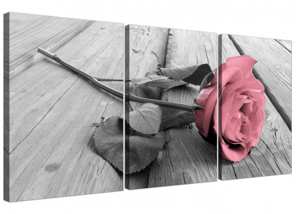 Modern Pink Grey Rose Flower Pastel Floral Canvas - 3 Set - 125cm - 3271