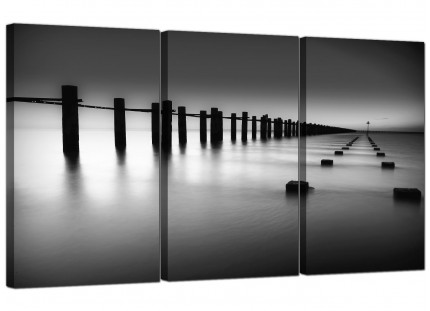 Modern Black White Beach Scenery Landscape Canvas - 3 Panel - 125cm - 3085