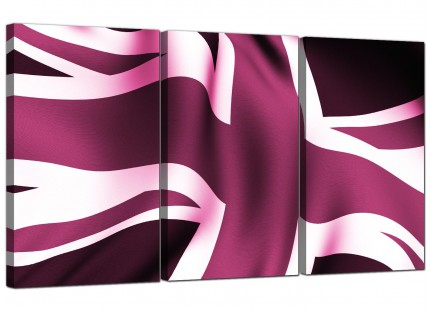 Modern Plum Purple Union Jack Flag Abstract Canvas - 3 Piece - 125cm - 3009