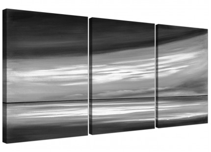 Black White Grey Abstract Beach Scene Abstract Canvas - 3 Set - 125cm - 3272