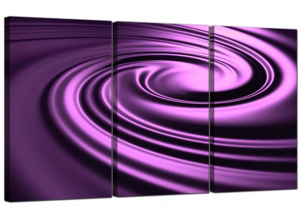 Modern Purple Black Swirl Design Abstract Canvas - 3 Piece - 125cm - 3058
