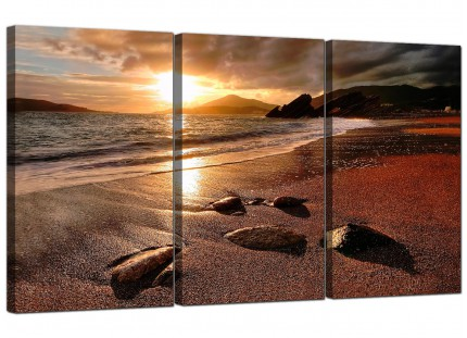 Modern Sunset Beach Scene Golden Brown Landscape Canvas - 3 Set - 125cm - 3131