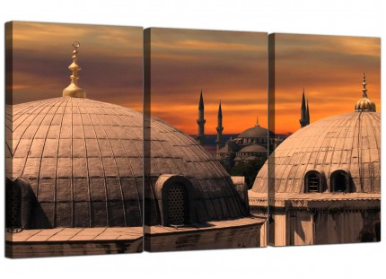 Istanbul Skyline - Blue Mosque Sunset Cityscape Canvas - 3 Piece - 125cm - 3192