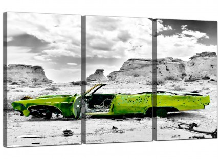 Abstract Lime Green Grey Car Desert Landscape Canvas - 3 Piece - 125cm - 3143