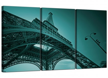 Modern Teal Coloured Eiffel Tower Paris Cityscape Canvas - 3 Part - 125cm - 3014