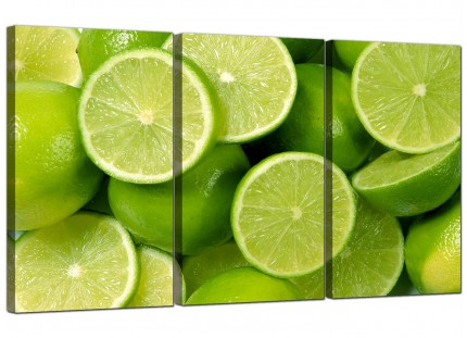 Modern Lime Green Fresh Fruit Kitchen Canvas - Set of 3 - 125cm - 3113