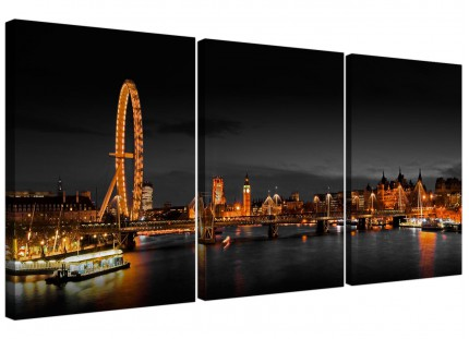 Panoramic London Eye at Night Big Ben Cityscape Canvas - 3 Part - 125cm - 3186