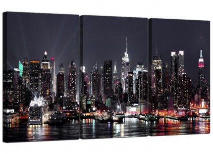 Modern New York City Skyline - Black White Cities Canvas - 3 Part - 125cm - 3187