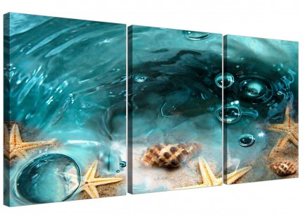 Teal Triptych Canvas Wall Art Seaside Starfish for your Bathroom