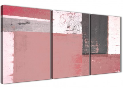 Blush Pink Grey Abstract Painting Canvas Wall Art Print - Split 3 Set - 125cm Wide - 3334
