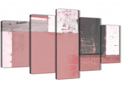 Extra Large Blush Pink Grey Abstract Painting Canvas Wall Art Print - Split 5 Set - 160cm Wide - 5334
