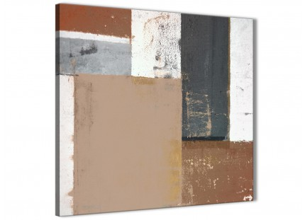 Brown Beige Grey Abstract Painting Canvas Wall Art Print - Modern 79cm Square - 1s335l