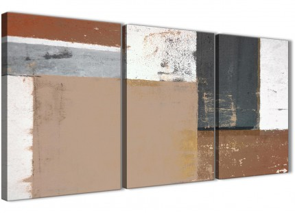 Brown Beige Grey Abstract Painting Canvas Wall Art Print - Multi 3 Set - 125cm Wide - 3335