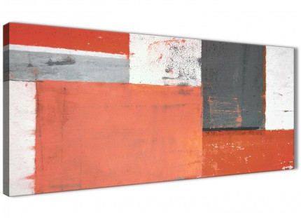 Coral Grey Abstract Painting Canvas Wall Art Pictures - Modern 120cm Wide - 1336