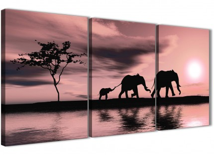 Blush Pink African Sunset Elephants Canvas Wall Art Print - Multi 3 Piece - 125cm Wide - 3361