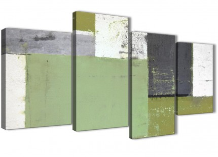 Large Green Grey Abstract Painting Canvas Wall Art Pictures - Multi 4 Set - 130cm Wide- 4337