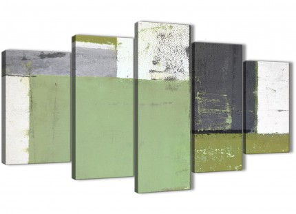 Extra Large Green Grey Abstract Painting Canvas Wall Art Pictures - Multi 5 Set - 160cm Wide - 5337