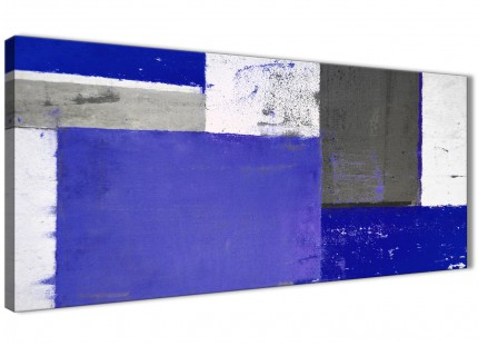 Indigo Navy Blue Abstract Painting Canvas Wall Art Print - Modern 120cm Wide - 1338