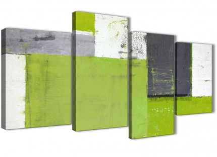 Large Lime Green Grey Abstract Painting Canvas Wall Art Print - Multi 4 Set - 130cm Wide- 4339