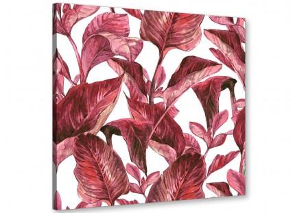 Dark Burgundy Red White Tropical Leaves Canvas Wall Art - Modern 79cm Square - 1s321l