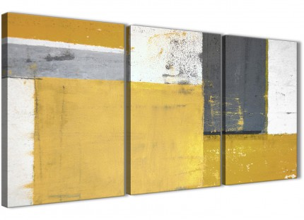 Mustard Yellow Grey Abstract Painting Canvas Wall Art Print - Multi 3 Part - 125cm Wide - 3340